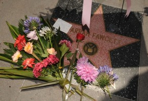 Flowers left by fans at the Hollywood Walk of Fame