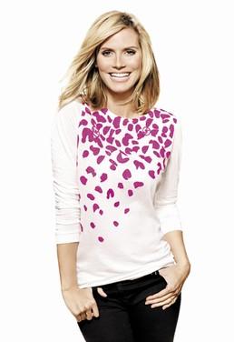 Heidi Klum, in the T-shirt designed by Michael Kors