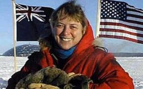 Dr. Jerri Nielsen, a National Science Foundation physician, is shown at the ceremonial South Pole in 1999 Photo: AP
