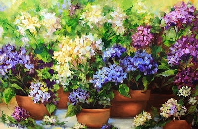 """Let It Rain Hydrangea Blossom Container Garden"" by  Artist Nancy Medina"