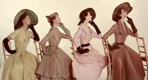 1950s-Fashion-taffeta-shantung-dresses-1951